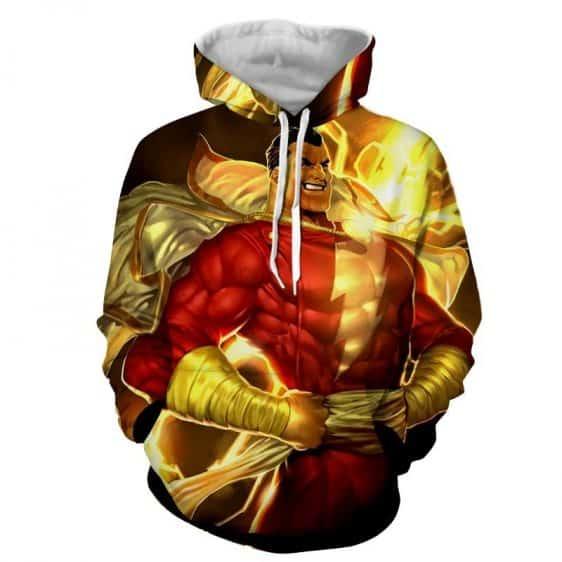 DC Comics Powerful Captain Marvel Shazam Golden Hoodie