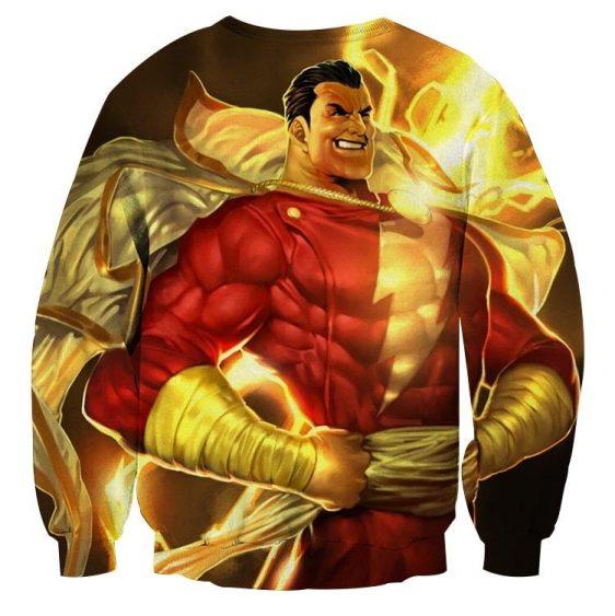 DC Comics Powerful Captain Marvel Shazam Golden Sweatshirt