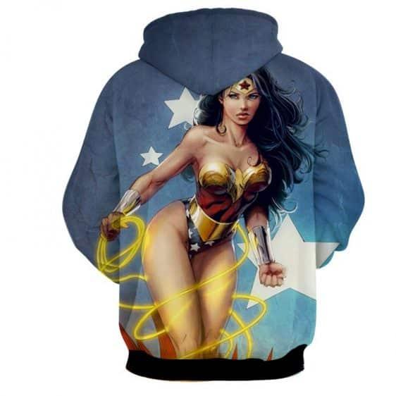 DC Comics Sexy Wonder Woman Golden Lasso Light Blue Hoodie