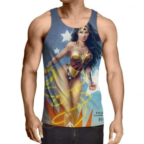 DC Comics Sexy Wonder Woman Golden Lasso Light Blue Tank Top