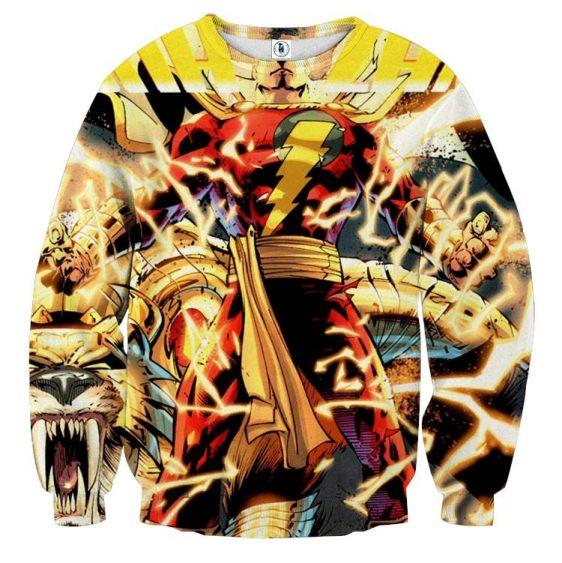 DC Comics Shazam Godly Lightning Blasts 3D Print Sweatshirt