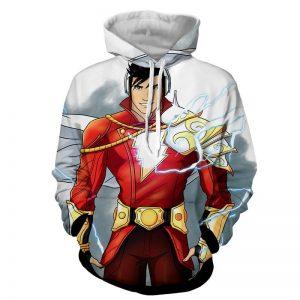 DC Comics Superhero Shazam Stylish White Hoodie
