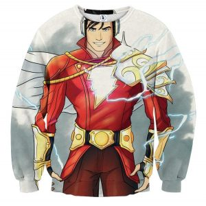 DC Comics Superhero Shazam Stylish White Sweatshirt