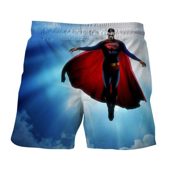 DC Comics Superman In the Sky Cool Blue Design Boardshorts