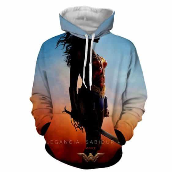 DC Comics Wonder Woman Standing Silhouette Sunset Sky Hoodie