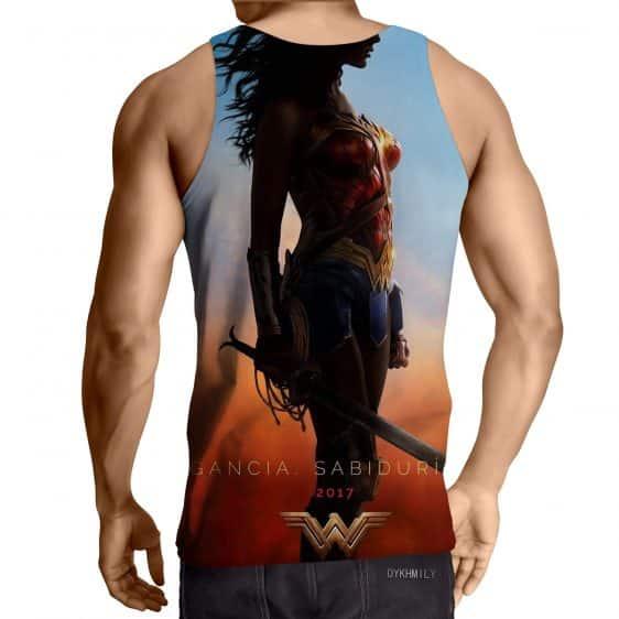 DC Comics Wonder Woman Standing Silhouette Sunset Sky Tank Top
