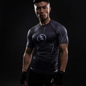 DC Flash Logo  In Grey Featuring Compression Short Sleeves Gym T-shirt - Superheroes Gears