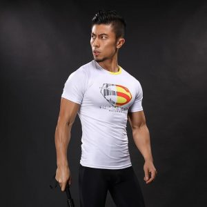 DC Superman Exclusive White Design Compression Short Sleeves Training T-shirt - Superheroes Gears