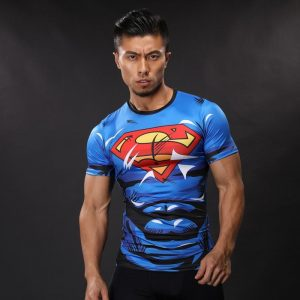 DC Superman Lively Bright Blue Compression Short Sleeves Running T-shirt - Superheroes Gears