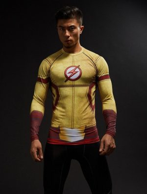 DC The Flash Inspired Design Work Out Compression Long Sleeves T-shirt - Superheroes Gears
