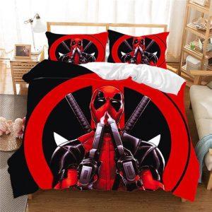 Deadpool Holding Two Guns Black & Red Marvel Bedding Set