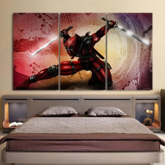 Deadpool Awesome Deep Moves 3pcs Wall Art Canvas Print