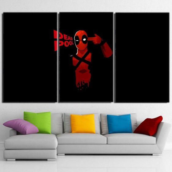 Deadpool Head Shot Dark Black 3pcs Wall Art Canvas Print