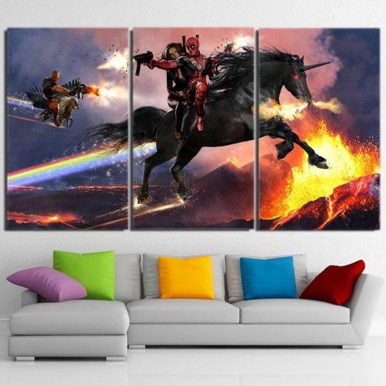 Deadpool Horse Riding Combat 3pcs Wall Art Canvas Print