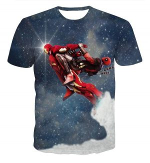 Deadpool Ride Ironman Starry Galaxy Funny Heroes Theme T-Shirt - Superheroes Gears