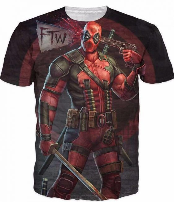 Deadpool Shooting Head Weapons Top to Toe FTW Funny T-Shirt - Superheroes Gears