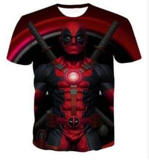 Deadpool Symbol Back Ground Dual Katana Hero Theme Trending T-Shirt - Superheroes Gears