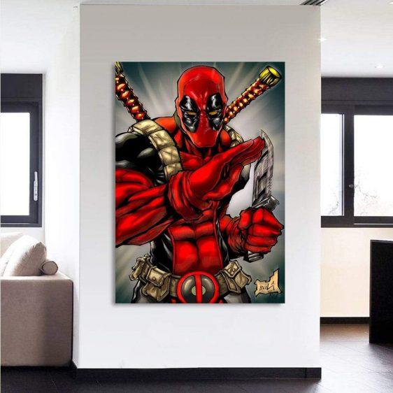 Deadpool With Sharp Knife Portrait Design 1pcs Canvas Print