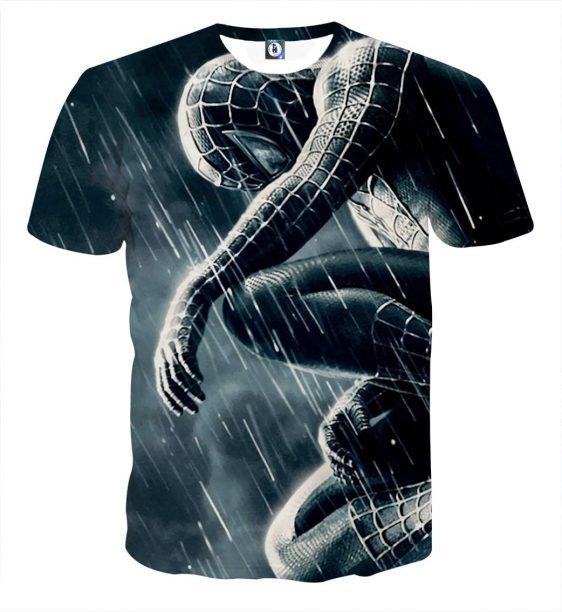 Emotional Spider-Man In The Rain Design Full Print T-Shirt