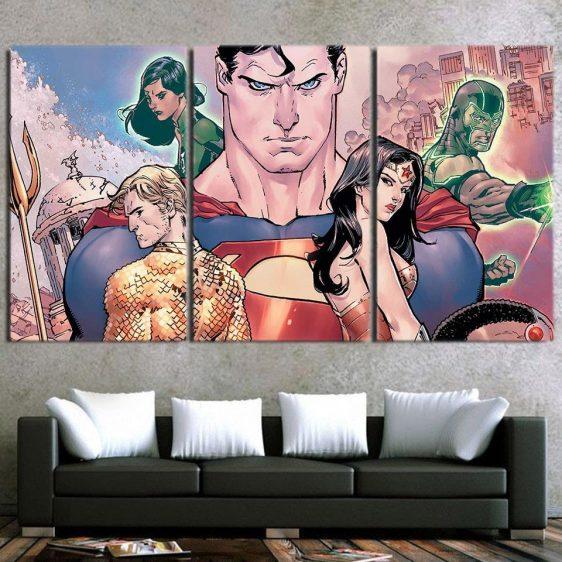 Epic Animated Justice League Superhero 3pcs Canvas Print