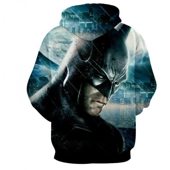 Fierce Batman Face Shot Under The Rain Full Print Hoodie