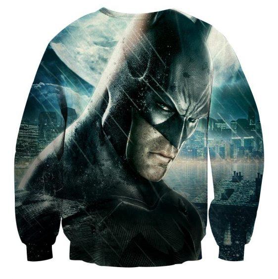 Fierce Batman Face Shot Under The Rain Full Print Sweatshirt