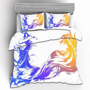 Final Fantasy X Logo Minimalistic Elegant White Bedding Set