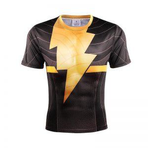 Shazam Black Adam DC Superhero Gold Thunderbolt Logo T-Shirt