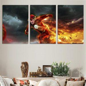 Flash Running Super Fast With Orange Lightning 3pcs Canvas