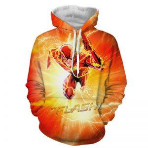 Flash The Fastest Man Alive Cartoon Design Orange Hoodie