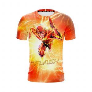 Flash The Fastest Man Alive Cartoon Design Orange T-Shirt