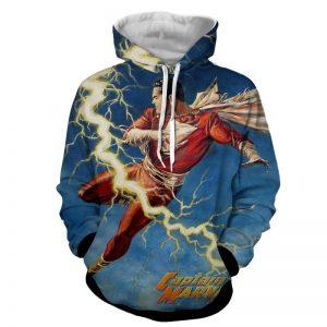 Flying Captain Marvel Shazam DC Comics Lightning Blue Chic Hoodie