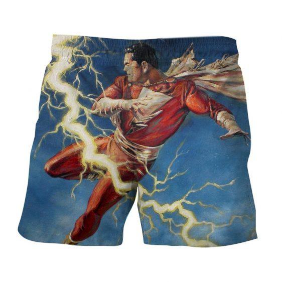 Flying Captain Marvel Shazam DC Comics Lightning Blue Chic Shorts