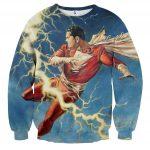 Flying Captain Marvel Shazam DC Comics Lightning Blue Chic Sweatshirt
