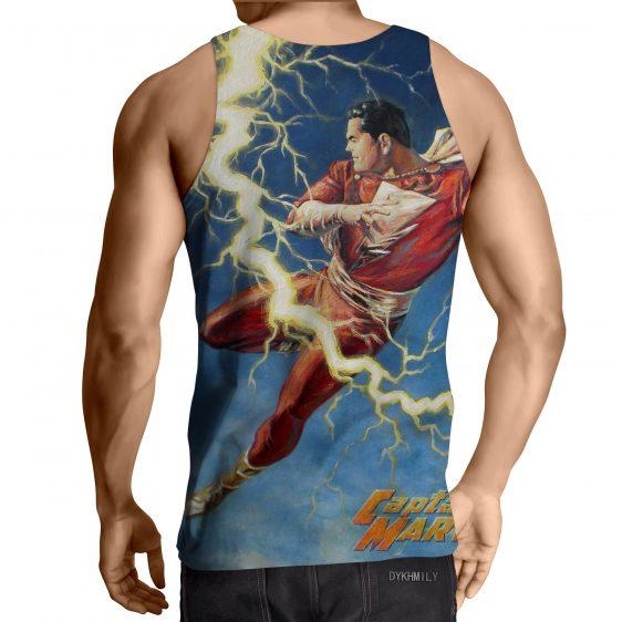 Flying Captain Marvel Shazam DC Comics Lightning Blue Chic Tank Top
