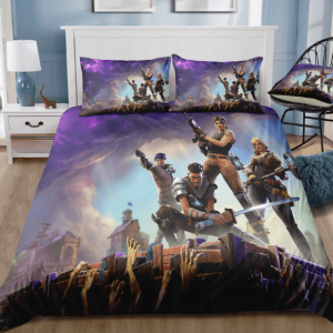 Fortnite Characters Holding Their Weapons Violet Bedding Set