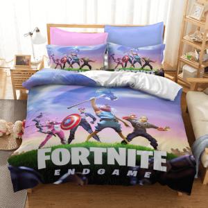 Fortnite Marvel Endgame Inspired Pink Light Blue Bedding Set