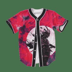 Full Moon Crow Samurai Red Tie Dye Baseball Jersey