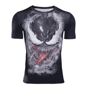 Marvel Venom Black Short Sleeves Compression Fitness T-Shirt