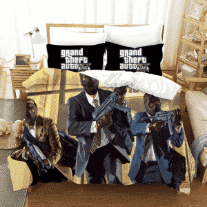 GTA V Armed Michael Franklin Trevor Bank Heist Bedding Set
