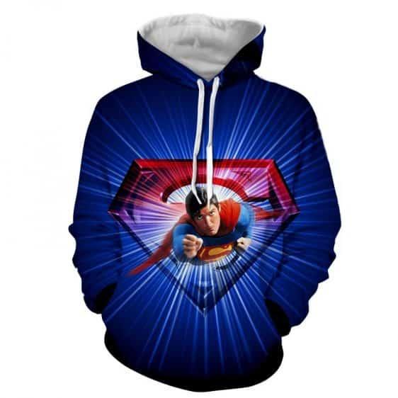 Glowing Superman Cool Blue Red Design Full Print Hoodie