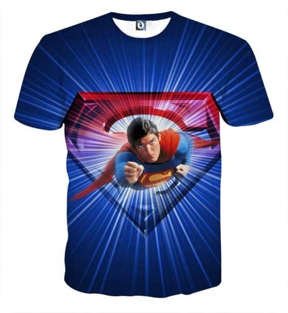 Glowing Superman Cool Blue Red Design Full Print T-Shirt