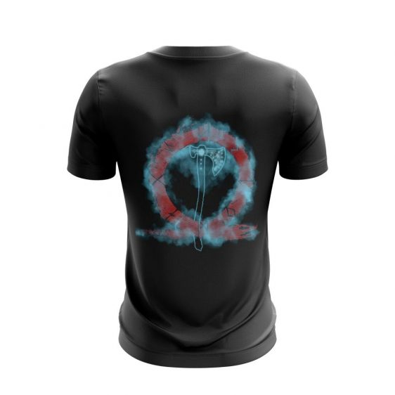 God Of War Black Kratos Omega Symbol Blue Aura Gaming T-Shirt