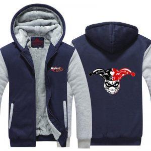 Harley Quinn Clown Head Cartoon Style Logo Hooded Jacket - Superheroes Gears
