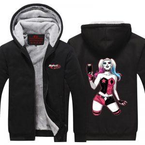 Harley Quinn Gun and Sexy Posture Dope Print Hooded Jacket - Superheroes Gears