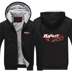 Harley Quinn Logo Name Symbol Vibrant Print Hooded Jacket - Superheroes Gears