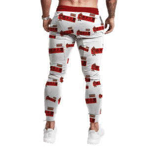 Iron Man Cartoonized Pattern White Dope Jogger Pants
