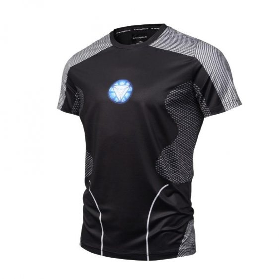 Iron Man Chest Arc Reactor Compression Short Sleeves T-shirt