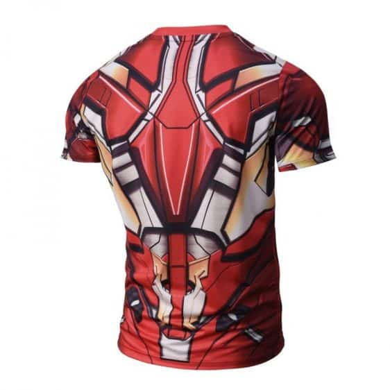 Iron Man Red Armor Suit Short Sleeves Compression T-Shirt