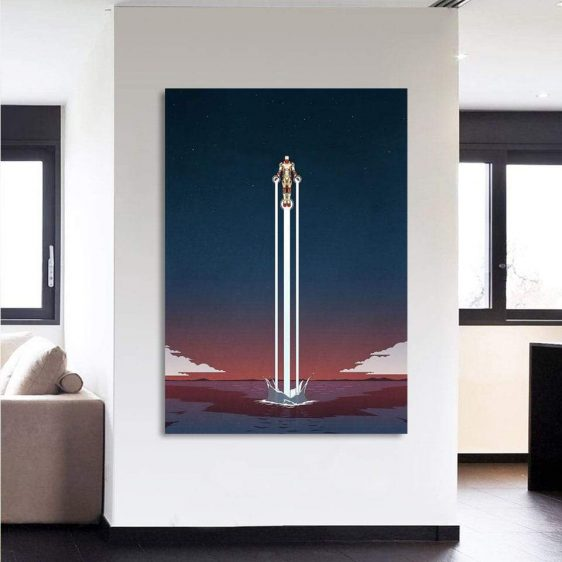 Iron Man Superhero Fly Over The Sea 1pcs Canvas Print